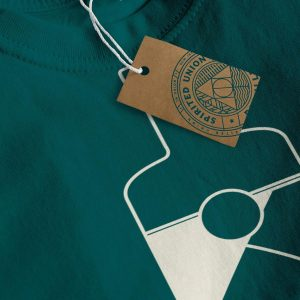 Close up of green Spirited Union sweater with bottle on front