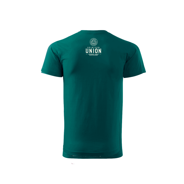 Green Spirited Union t-shirt with logo on back